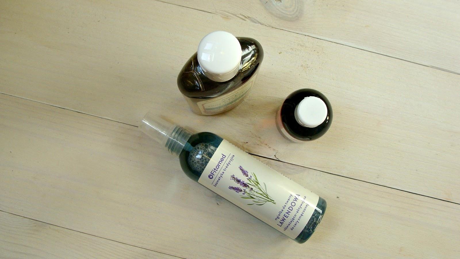 Woda różana Fitomed, mgiełka lawendowa Fitomed, żel ziołowy Fitomed do skóry suchej i wrażliwej