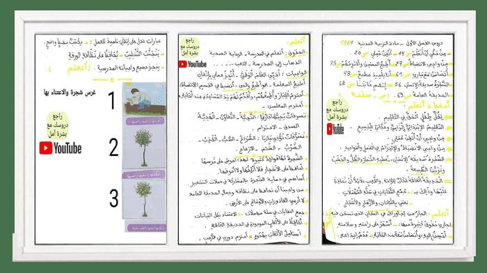 ملخصات الفصل الأول في التربية المدنية للسـنة الثانية ابتدائي