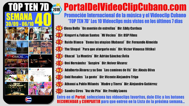 Artistas ganadores del * TOP TEN 7D * con los 10 Videoclips más vistos en la semana 40 (30/09 a 06/10 de 2019) en el Portal Del Vídeo Clip Cubano