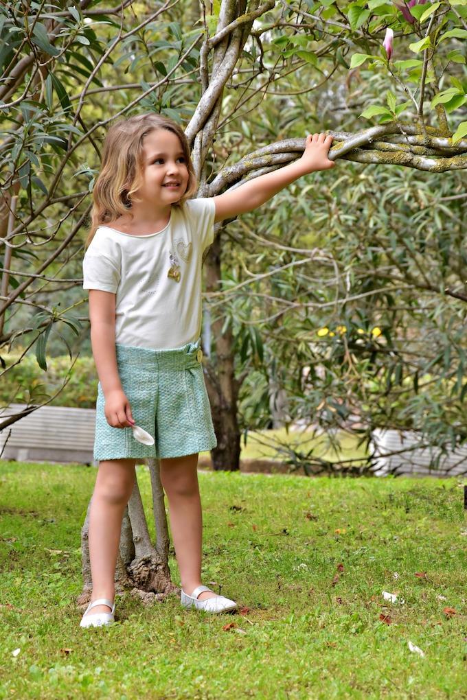 MiniLook: Pantaloncini in Jaquard verde acqua