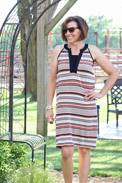 McCall's 7564 dress made from Mood Fabrics' stretch terry