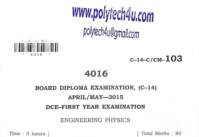 SBTET AP C-14 ENGINEERING PHYSICS MODEL PAPER 2015