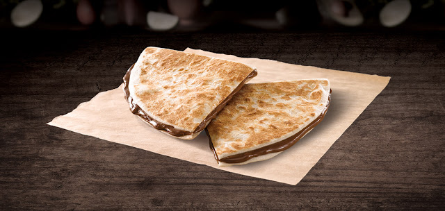 Chocodilla™  A lightly grilled tortilla filled with melted chocolate.