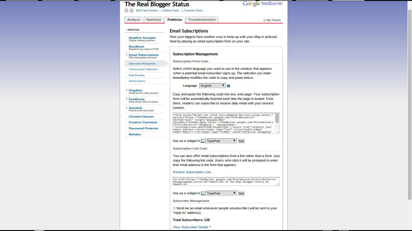 Maintain A FeedBurner Subscriber List