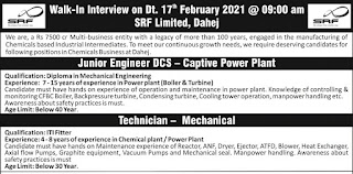 ITI and Diploma Candidates Walk-In Interview For Junior Engineer & Technician Post in SRF Limited,  Dahej, Gujarat
