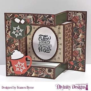 Stamps: But First Coffee  Custom Dies: Tri-Fold Card With Layers, Ovals, Scalloped Ovals  Paper Collection: Latte Love