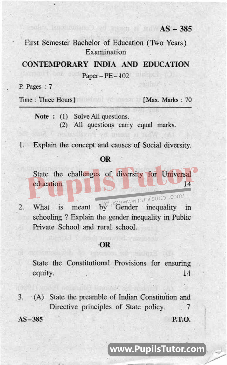 Contemporary India And Education Question Paper In English