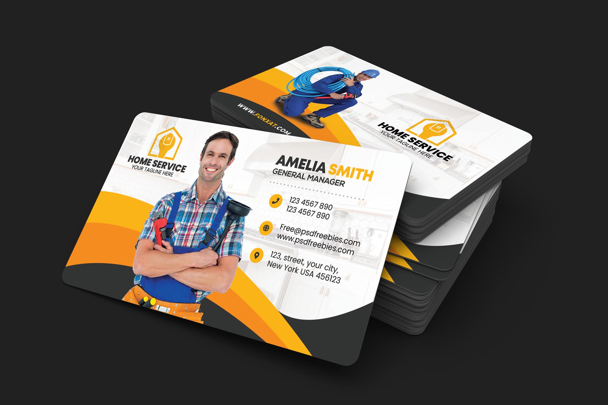 Download Personal Card PSD Professional Electrician Business Card Open Source PSD
