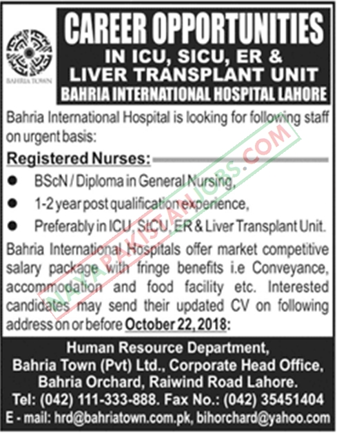 Latest Vacancies Announced in Bahria International Hospital Lahore 19 October 2018 - Naya Pakistan