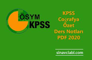 KPSS Coğrafya Özet Ders Notları PDF 2020