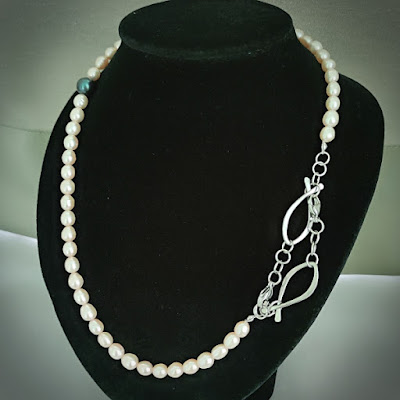 Face Mask / Eyeglasses Chain with Pearl and Wire Fish / Ichthus as Necklace