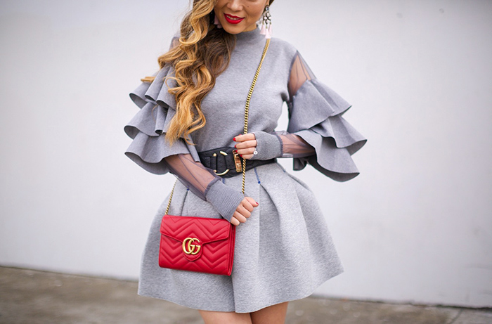 Ruffle top, chic wish ruffle top, baublebar earrings, grey aline skirt, gucci wallet on the chain, steve madden over the knee boots, over the knee boots, san francisco fashion blog, san francisco street style