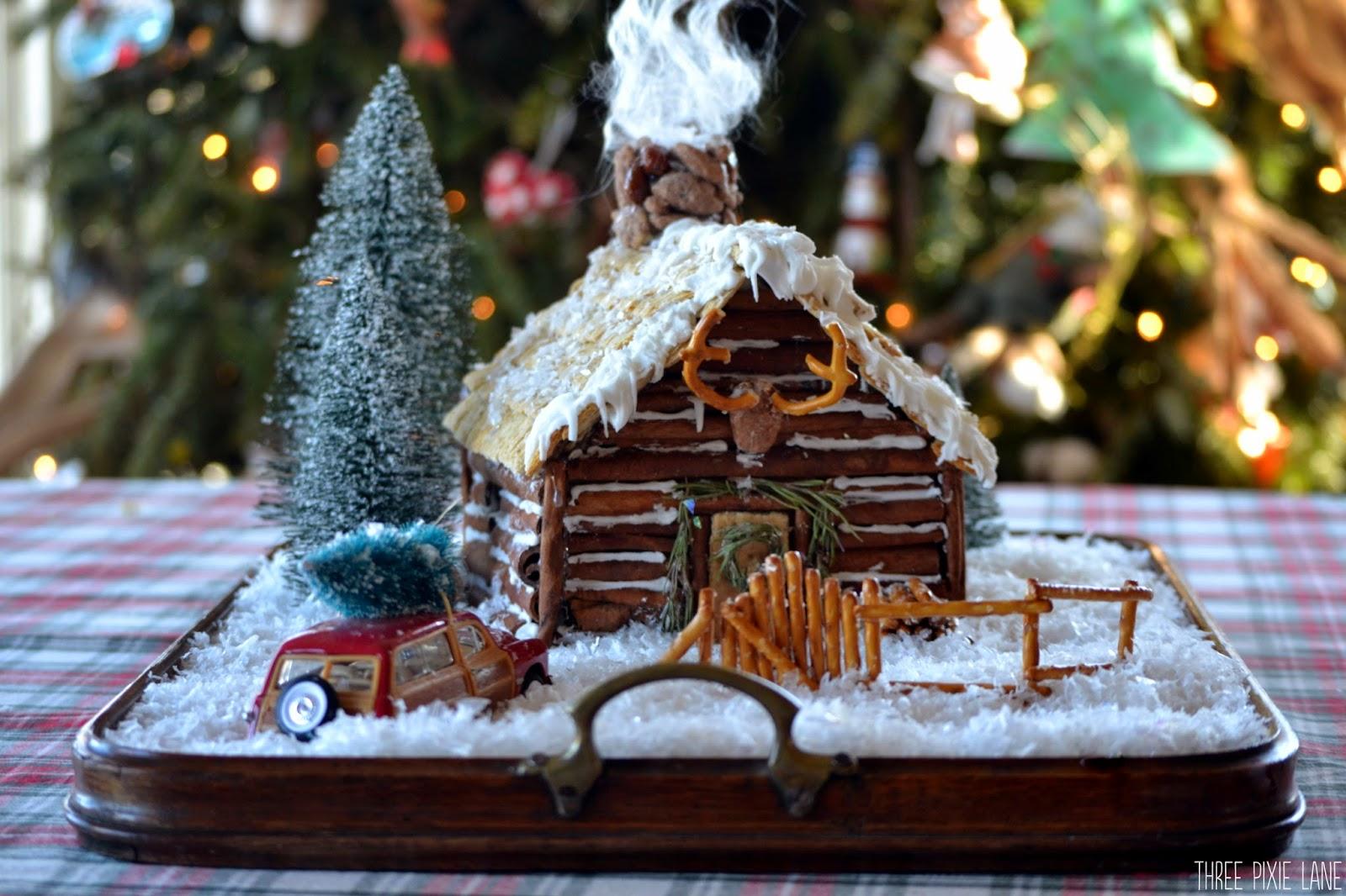 Three Pixie Lane Gingerbread Log Cabin