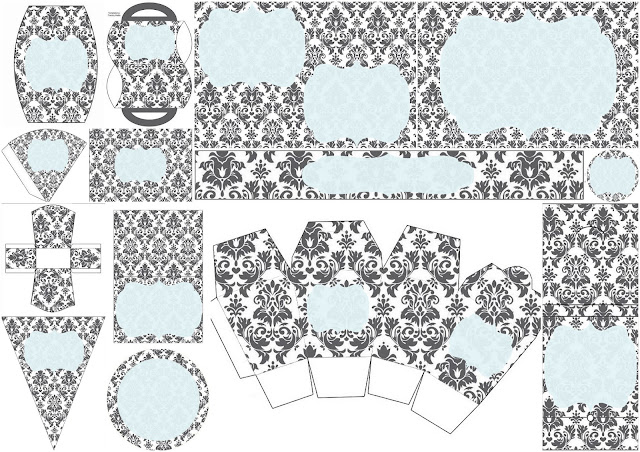 Damasks in Light Blue Free Printable Kit.