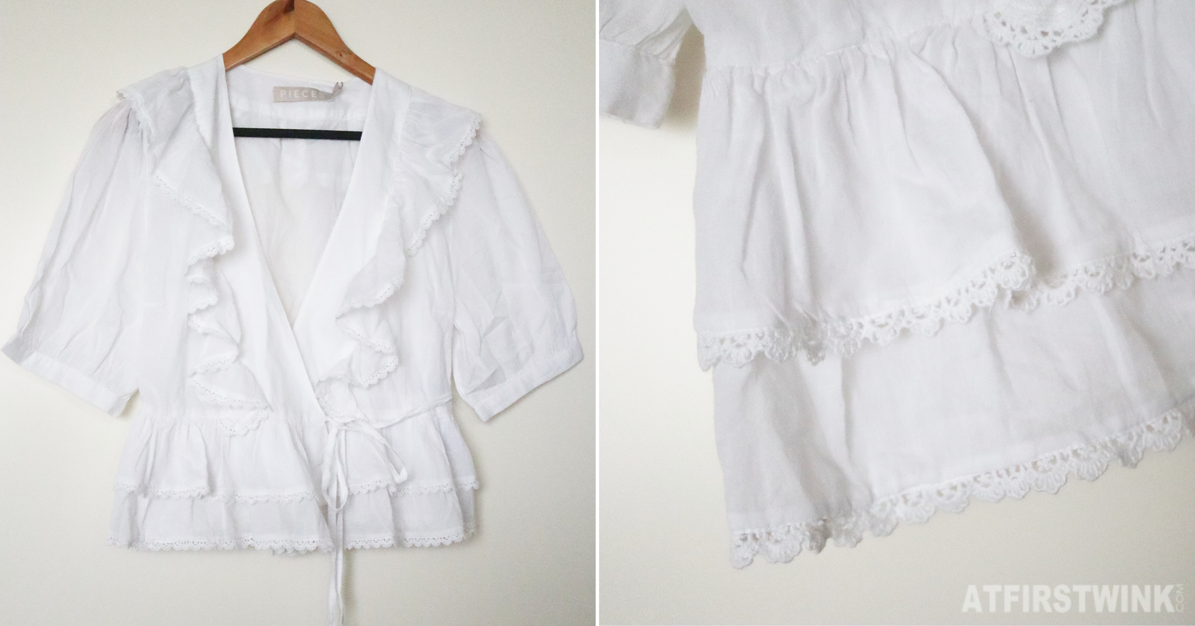 Pieces white frilly top