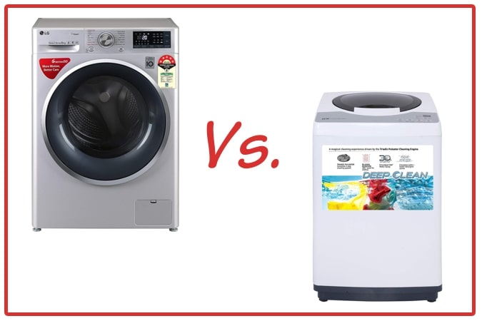 LG FHT1408ZWL (left) and IFB REW (right) Washing Machines.