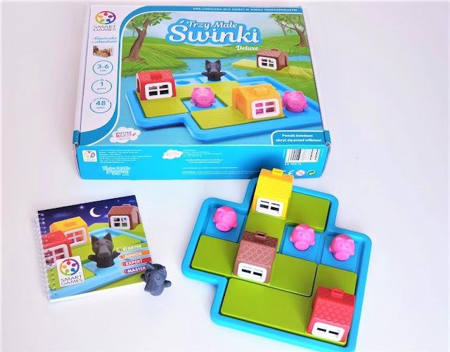 opakowanie i zawartość logicznej gry planszowej dla dzieci Trzy małe świnki granna