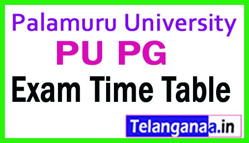 Palamuru University PU PG Exam Time Table