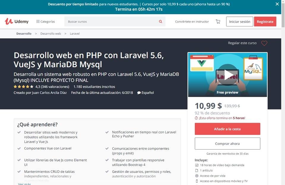 Desarrollo web en PHP con Laravel 5.6, VueJS y MariaDB Mysql [MEGA ...