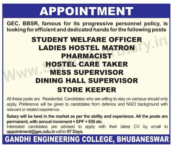 Jobs For 10th Pass Students job in Gandi Engineering College Bhubaneswar