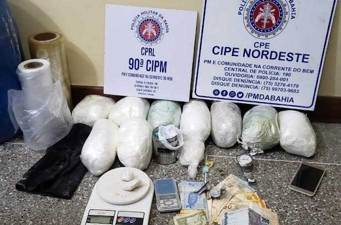 Operação da Cipe Nordeste e guarnição da 90ª CIPM/Riachão prende traficante com 9 kg de cocaína em Pé de Serra