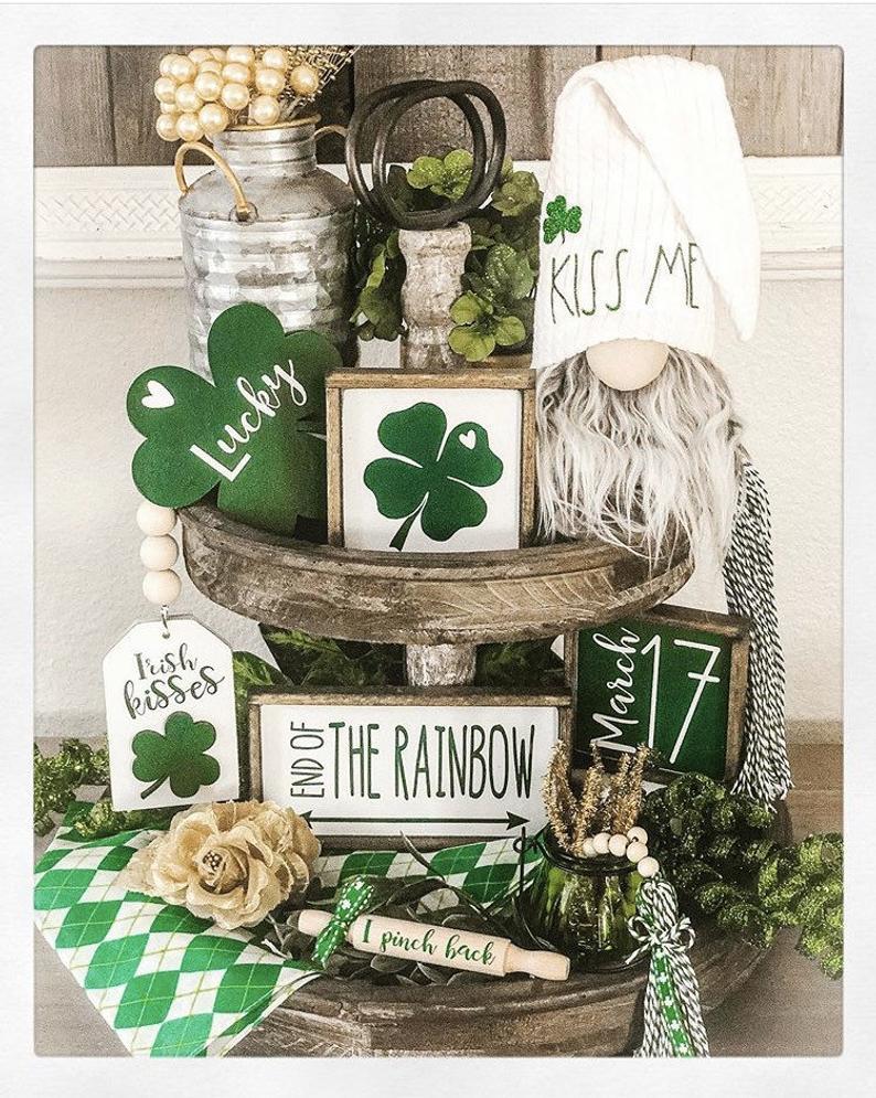 St. Patrick's Day Tiered Tray Ideas | French Creek Farmhouse