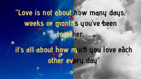 Love is not about how many days, weeks or months