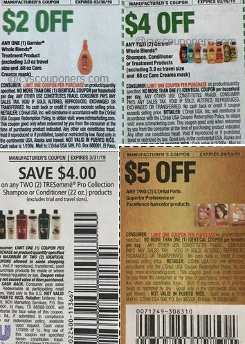 Loreal hair color, Garnier, Tresemme, coupons
