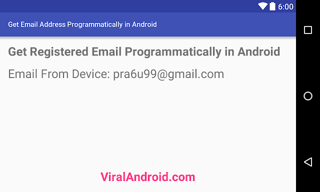 How to Get Registered Email Address Programmatically in Android