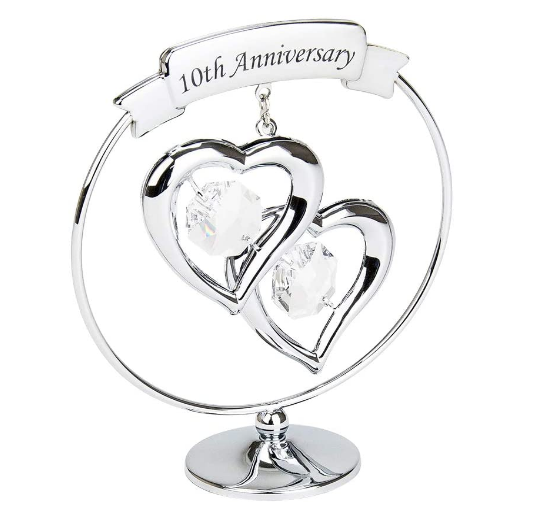 silver plated metal ornament anniversary wedding gift crystal glass
