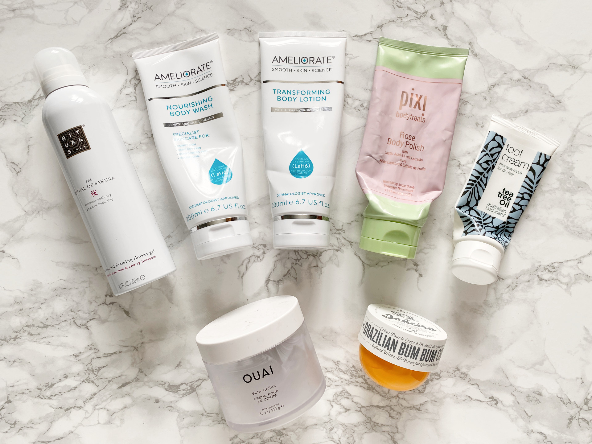 bodycare empties and reviews ft ameliorate, rituals, ouai, pixi