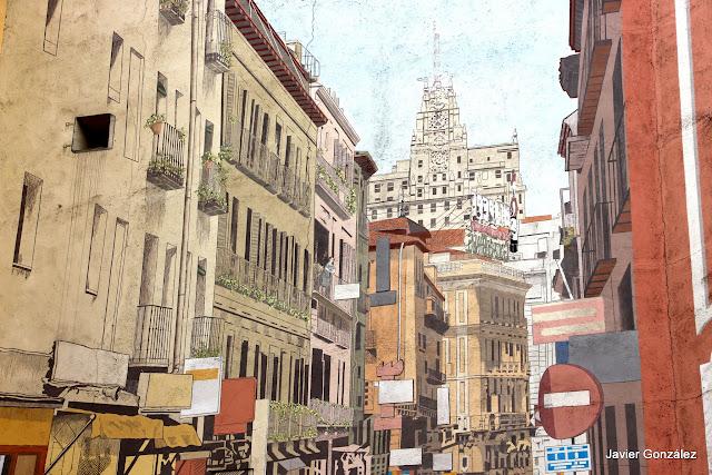 Trampantojo. Mural. La calle invisible. Calle de la Cruz. Espoz y Mina. Invisible Street
