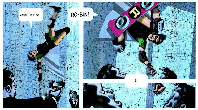 Robin lutando contra o cartel do Senhor do Crime no revista Batman Digital Justice