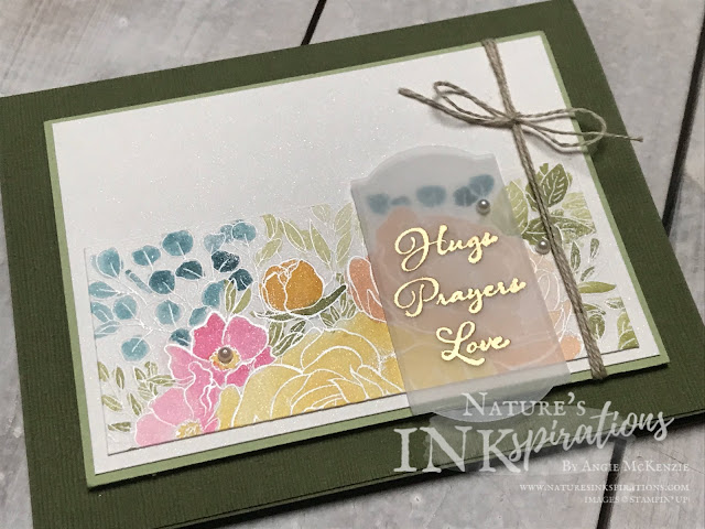 By Angie McKenzie for JOSTTT014 Design Team Inspirations; Click READ or VISIT to go to my blog for details! Featuring the Breathtaking Bouquet Background Stamp, Positive Thoughts Stamp Set and Painted Labels Dies from the 2020 January-June Mini Catalog; #stampinup #vellum #thinkingofyoucards #florals #embossing #watercoloring #positivethoughtsstampset #breathtakingbouquetstampset #paintedlabelsdies #subtleembossingfolder #josttt014 #linenthread #cardtechniques #josdesignteaminspiration