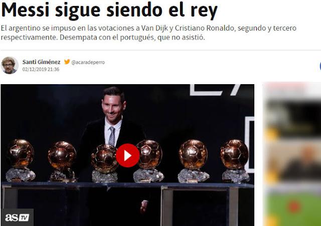 """Messi vượt Ronaldo giành 6 Bóng vàng: Báo chí nể phục, mệnh danh là """"Vua"""" 2"""