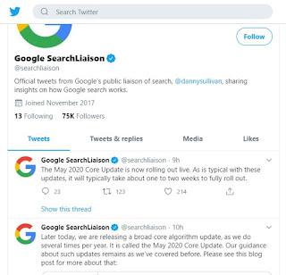 Update algoritma Google terbaru diberi naman core update Mei 2020