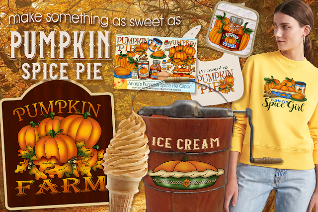 Make something as sweet as pumpkin spice pie with Annie Lang's Pumpkin Spice Pie Clipart from Creative Market.