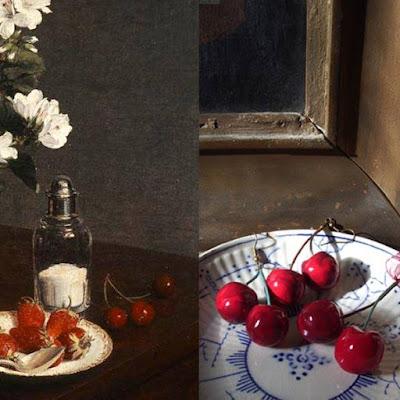 Hanri Fantin-Latour La Fille du Consul Nature morte cerises fruits fleurs 1866