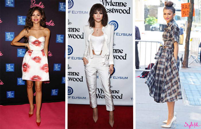 Teen hollywood celebrity Zendaya Coleman wears different styles of dresses, coordinated seperates and pant suits and looks stunning in all