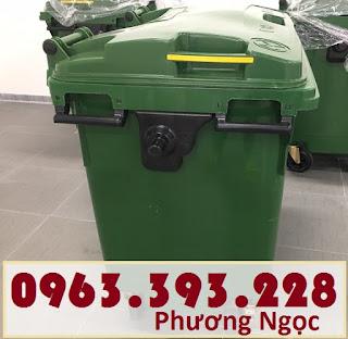 Xe đẩy rác 660 lít 4 bánh, xe gom rác công nghiệp, thùng rác 660L nhựa HDPE XR660L4B3
