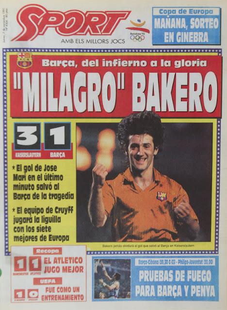 Diario Sport Barcelona Kaiserslautern 1991-92 Bakero