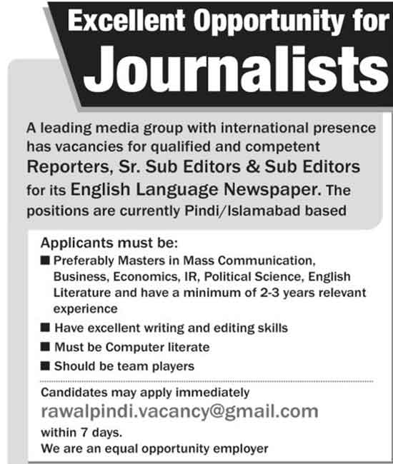 Jarnalist Jobs in A English Newspaper For Rawalpindi and Islamabad