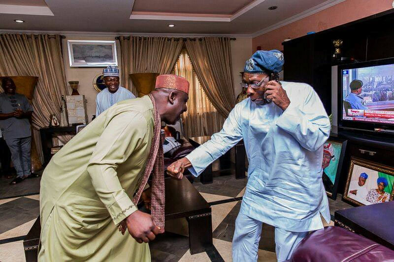 Obasanjo and Rochas show off dancing skills during visit by Imo State governor