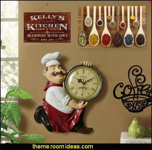 fat chef wall clock Farmhouse Kitchen Decor  food wall art