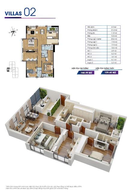 Mặt bằng căn hộ số 02 tòa Sapphire 2