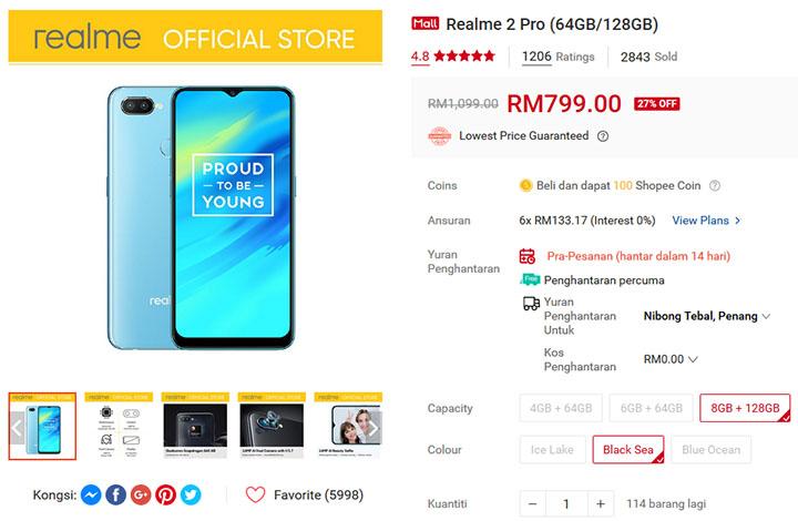 Harga diskaun Realme 2 Pro Beli Online di Shopee