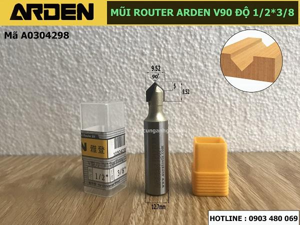 Mũi phay gỗ chử V dòng A0304 ARDEN 1/2x3/8