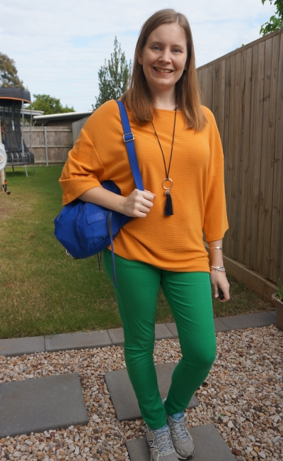 marigold orange dolman kmart top with thrifted green skinny jeans Rebecca Minkoff Julian nylon backpack