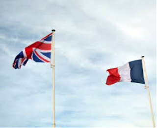 Stock photo of the Union Jack and the French flag.