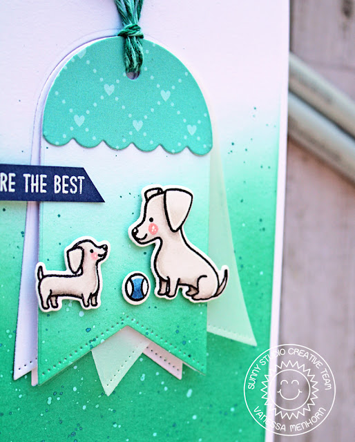 Sunny Studio Stamps: Puppy Parents Build A Tag Thank You Parent Card by Vanessa Menhorn